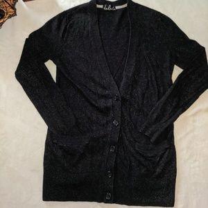 Talula Charcoal Button Up Long Cardigan XXS
